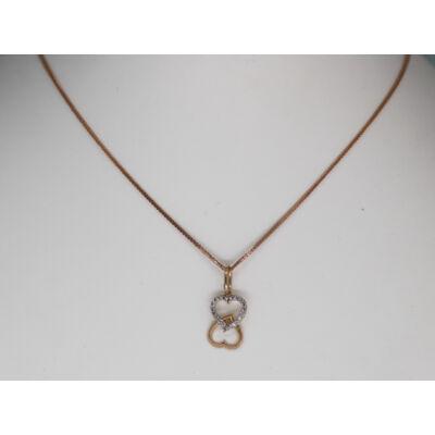 Rozé arany szív alakú köves medál