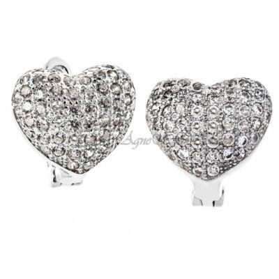 Szív alakú ezüst női franciazáras fülbevaló