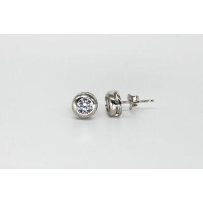 Button foglalatú bedugós ezüst női fülbevaló