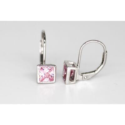 Divatos rózsaszín köves patent záras ezüst fülbevaló