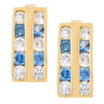 Franciazáras női arany fülbevaló világoskék és fehér cirkónia kövekkel