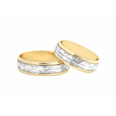 Különleges 14 Karátos sárga és fehérarany karikagyűrű (középen forog)