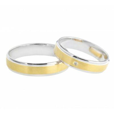 Sárga fehérarany 14 karátos karikagyűrű egy pici cirkónia vagy brill kővel