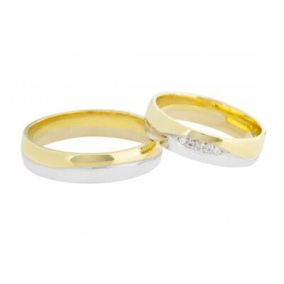 Egyedi fehér és sárga arany 14 karátos karikagyűrű páros