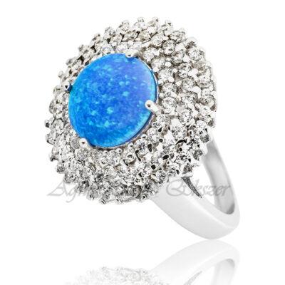 Exkluzív kék opál köves ezüst gyűrű