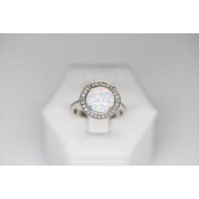 Opál köves ezüst gyűrű apró cirkónia kövekkel