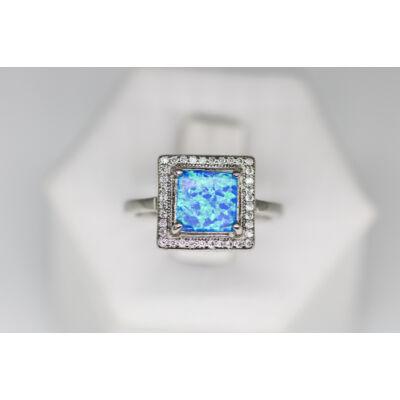 Kék opál köves szögletes ezüst gyűrű