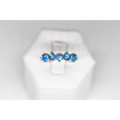 Ródiumozott kék opál köves ezüst gyűrű