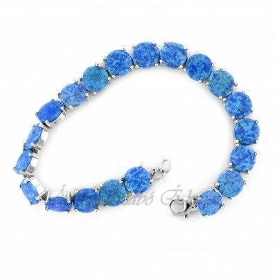 Kék opál köves ezüst női karlánc