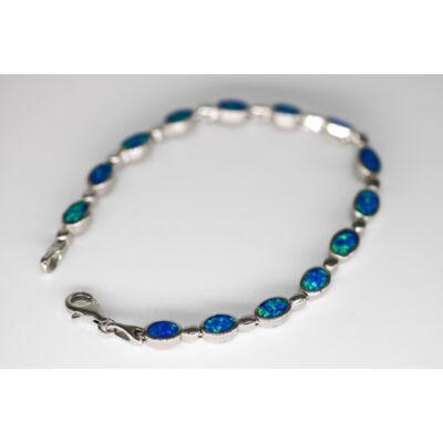Ródiumozott kék opál köves ezüst női karlánc
