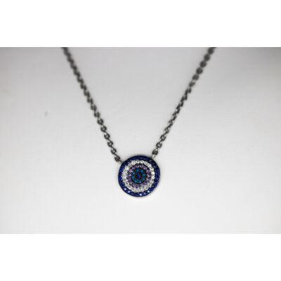 Kék köves ródiumozott ezüst lánc