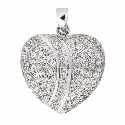 Cirkónia köves ezüst szív medál