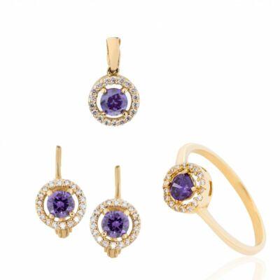 Fenséges lila ékköves klasszikus arany ékszer szett, a múlt eleganciájával és a jelen ragyogásával!