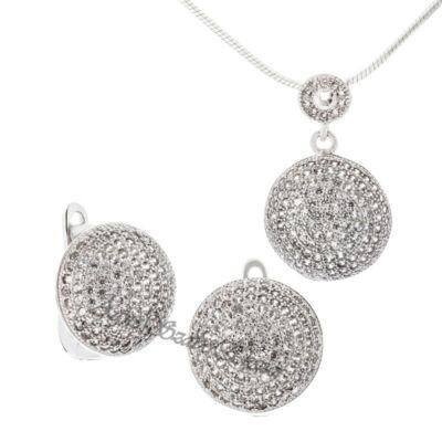 Ragyogó ezüst női fülbevaló és medál apró cirkónia kövekkel!