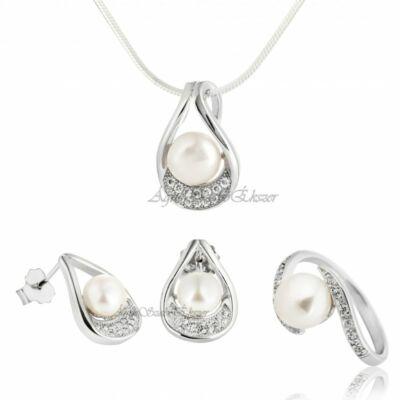 Gyönyörű gyöngy ezüst szett