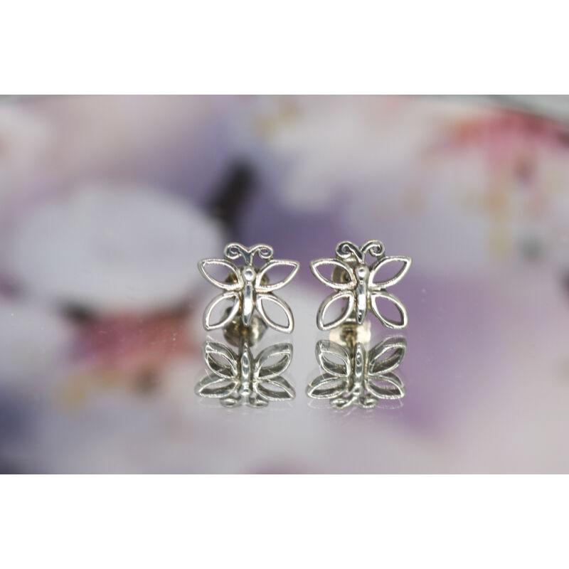 Pillangó formájú ezüst beszúrós fülbevaló