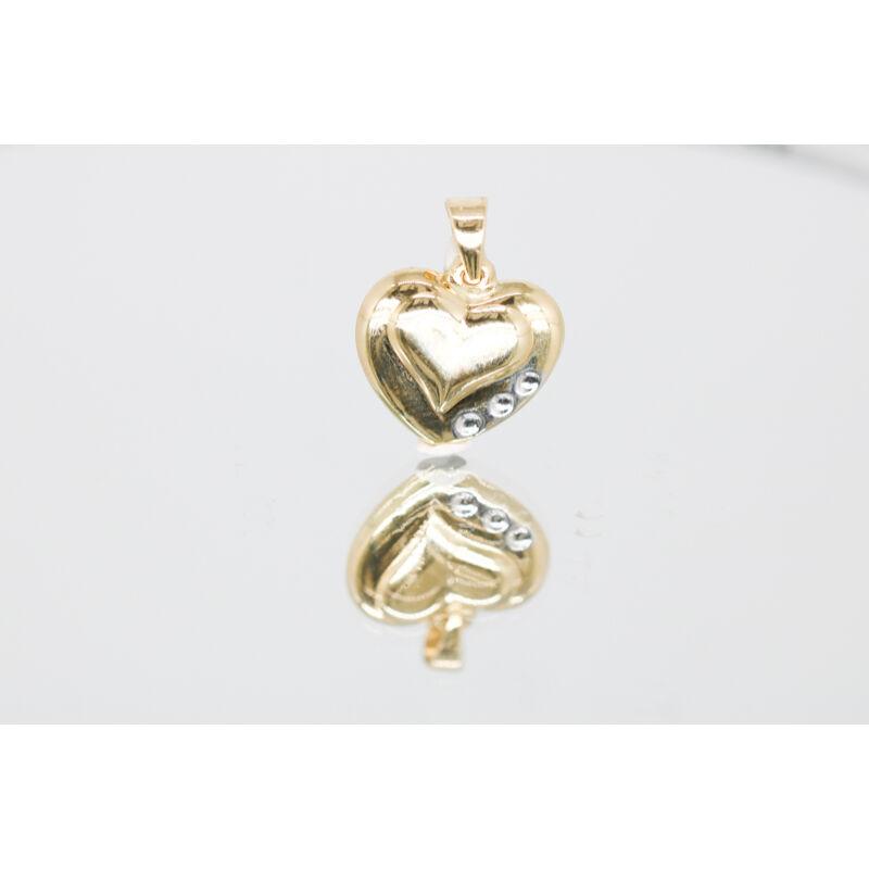 különleges arany szív medál fehérarany díszítéssel