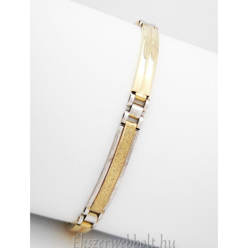 Férfi arany tagos karkötő, fehér és sárga arany kombinációjával