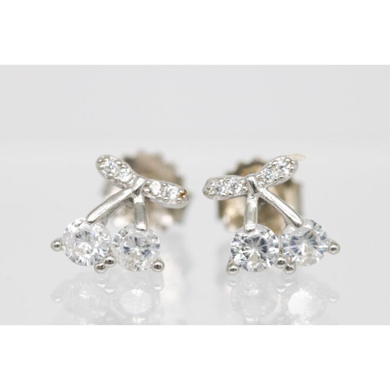 Kövekkel díszített ezüst cseresznye alakú fülbevaló