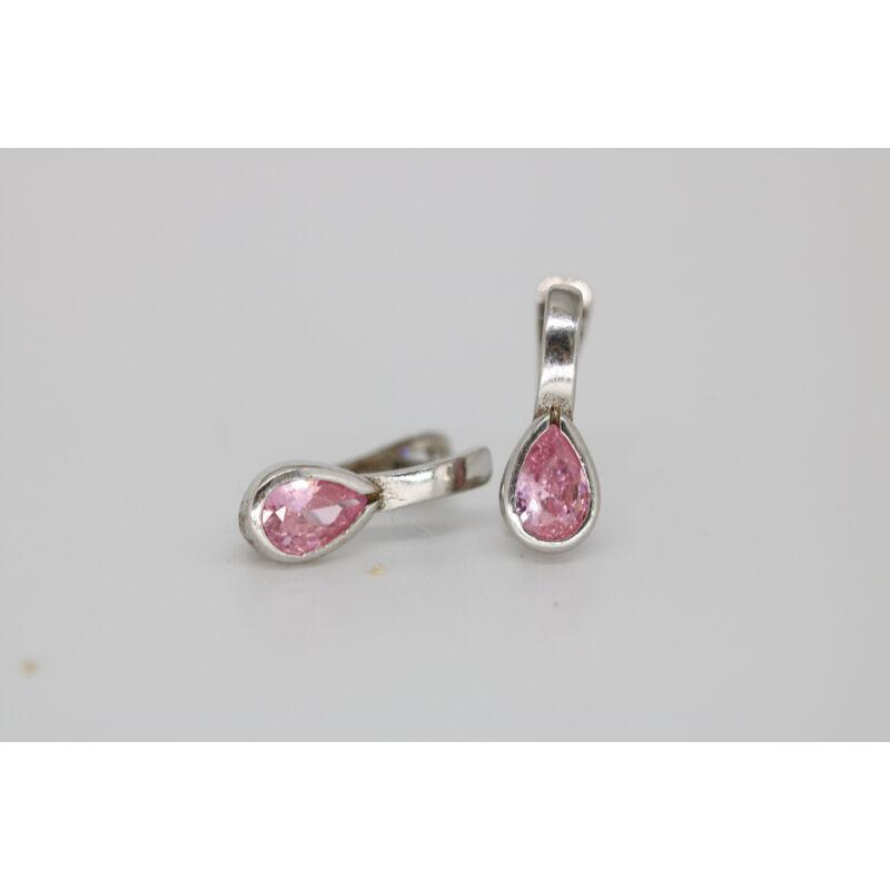 Rózsaszín köves ezüst fülbevaló