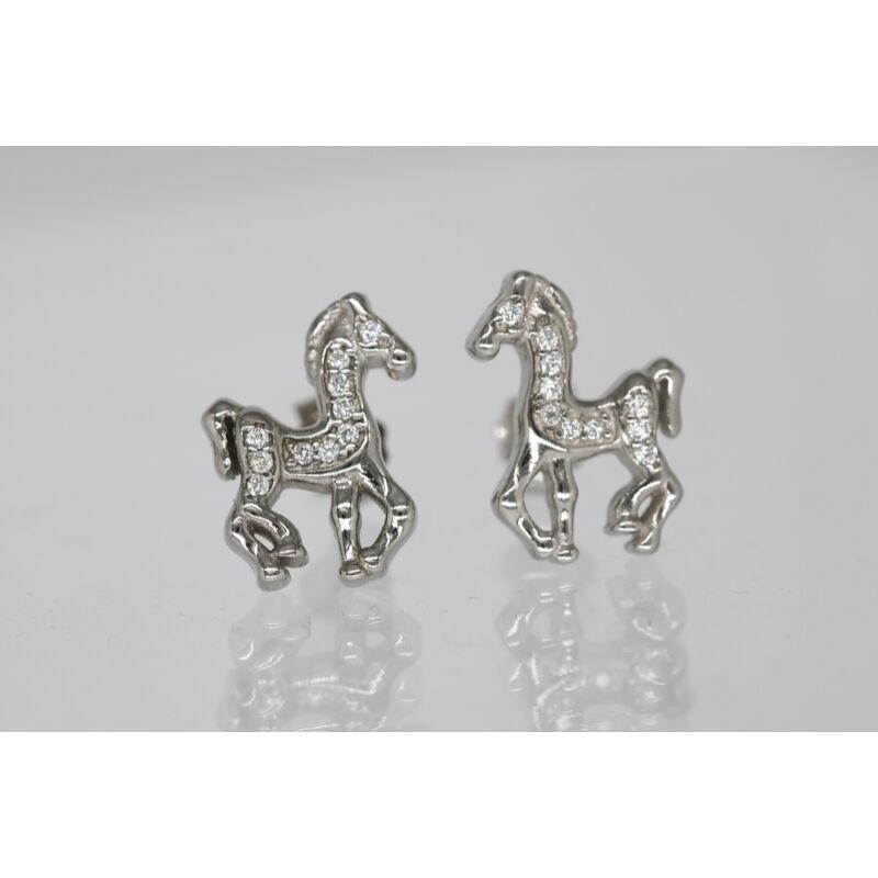 Köves lovas ezüst fülbevaló