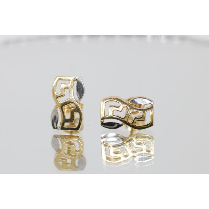 görög mintás kombinált arany beszúrós fülbevaló