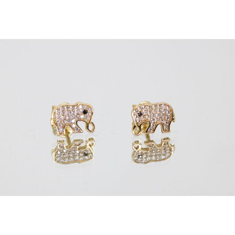 Köves arany elefánt beszúrós fülbevaló