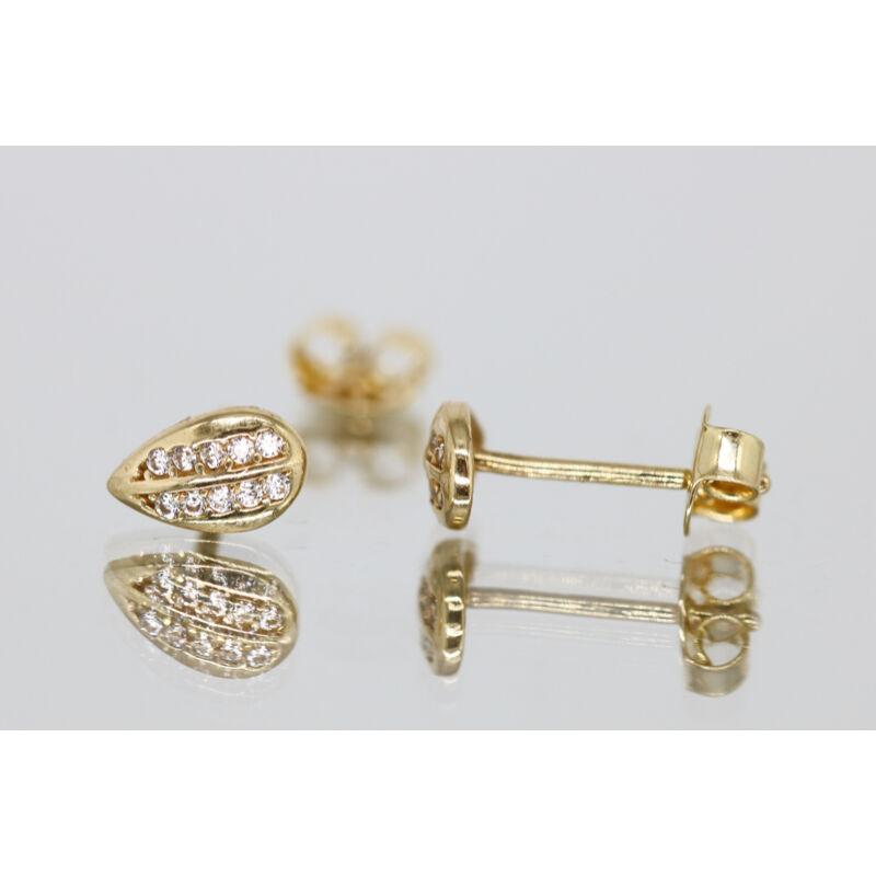 Köves aranylevélke alakú beszúrós fülbevaló