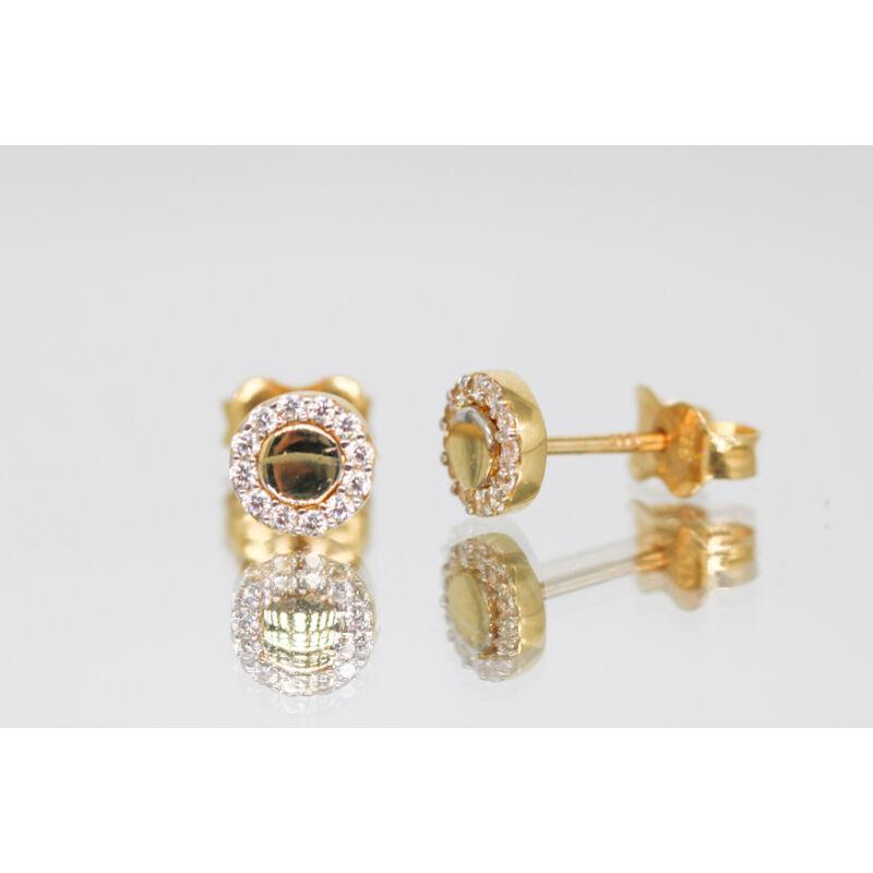Körbe köves korong alakú arany beszúrós fülbevaló