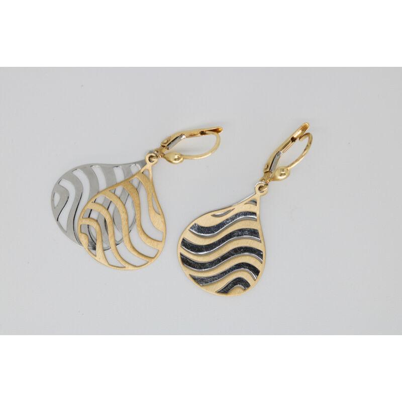 Áttört kialakítású, fehér és sárga arany lógós arany fülbevaló