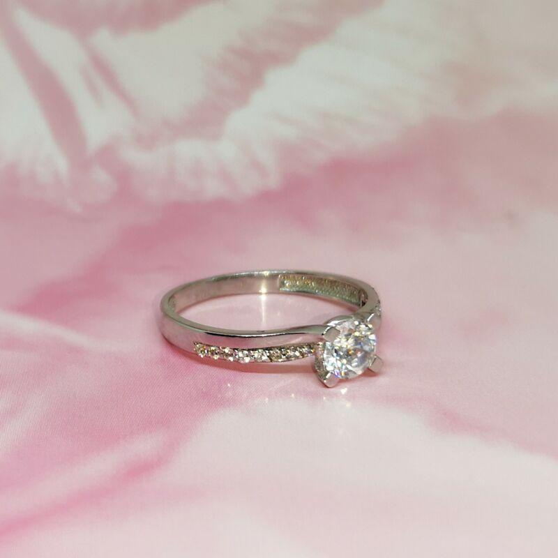 elragadó, köves fehérarany gyűrű