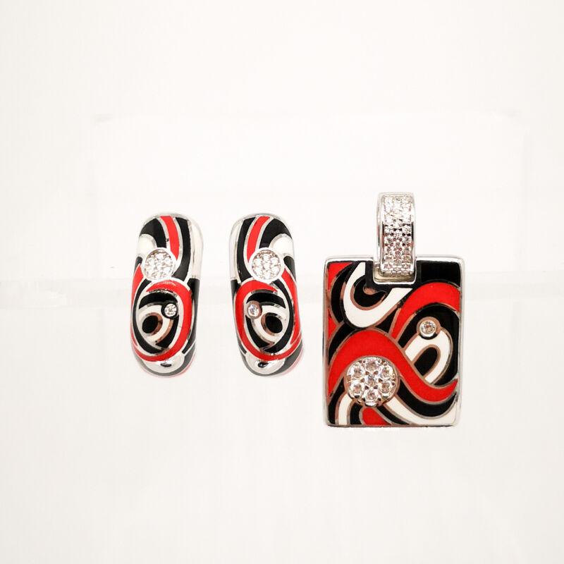 Gyönyörű piros zománcolt ezüst patentzáras fülbevaló