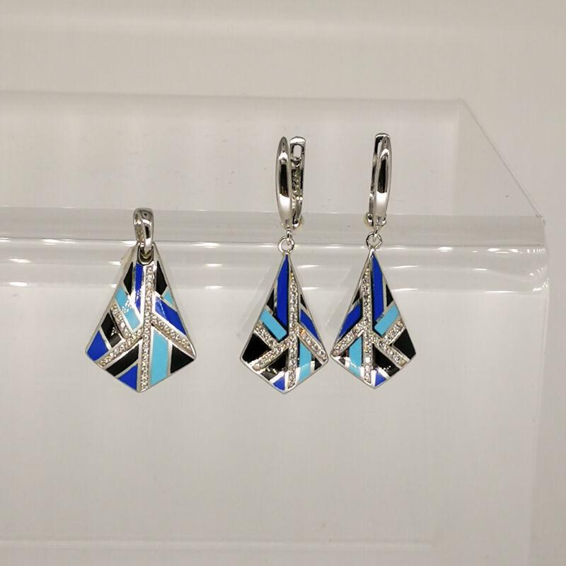Különleges kék zománc patentzáras fülbevaló