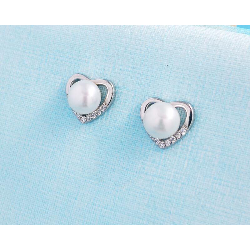 Tenyésztett gyöngyös szív alakú ezüst fülbevaló