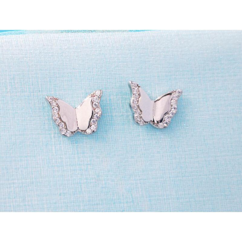 Ezüst pillangó beszúrós fülbevaló