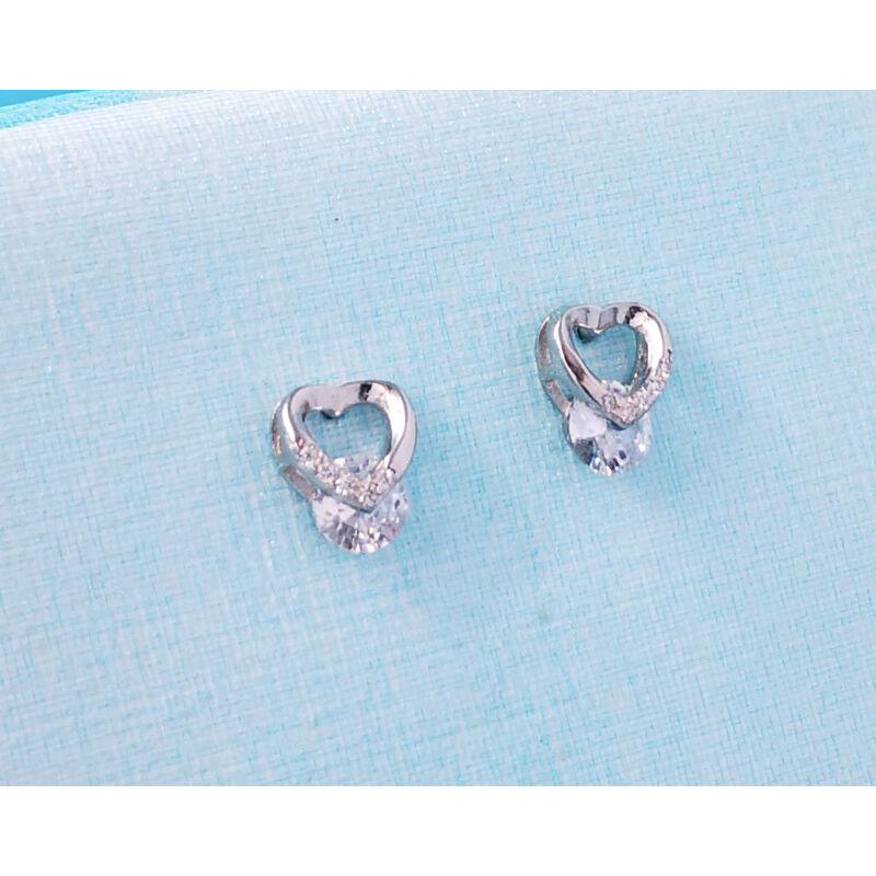 köves ezüst szív fülbevaló