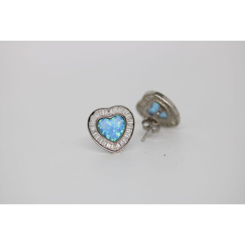 Kék opál szív fülbevaló