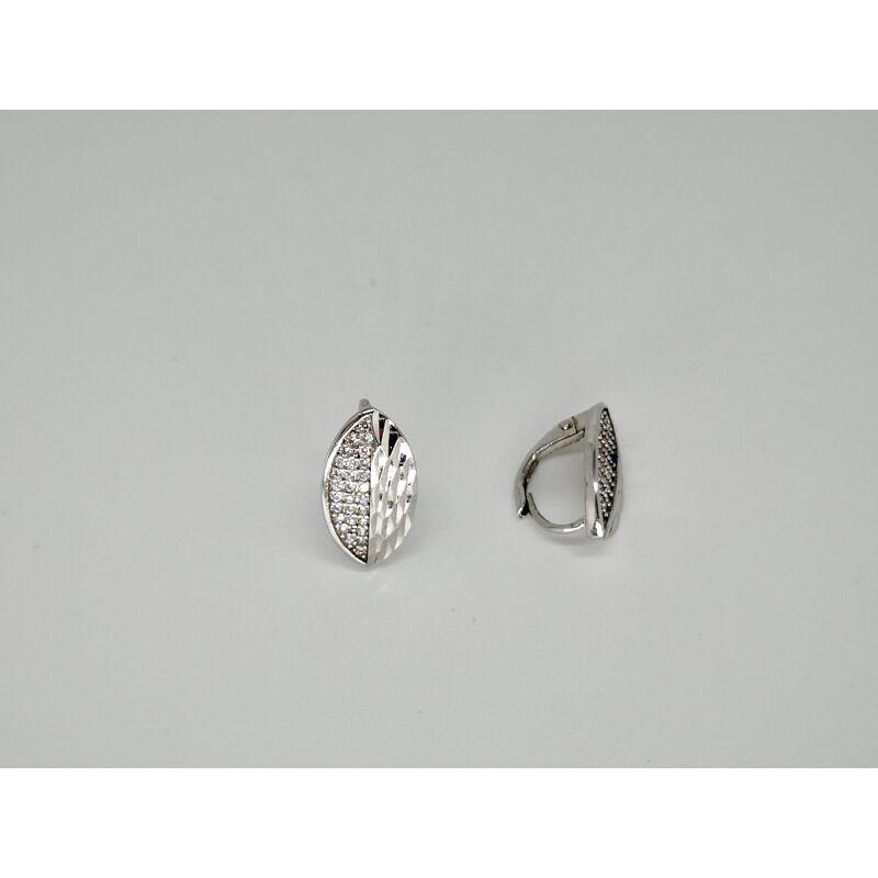 Mandula alakú , vésett és köves ezüst fülbevaló