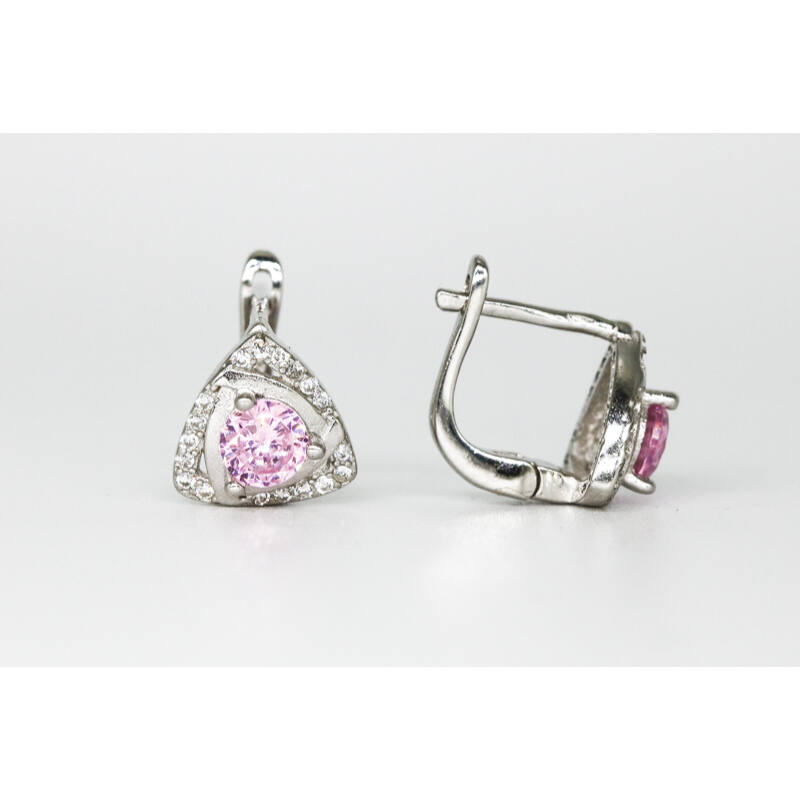 Divatos rózsaszín köves franciazáras ezüst fülbevaló