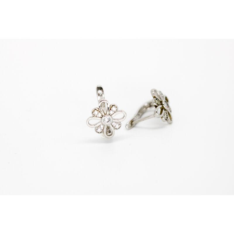 Ródiumozott ezüst cirkónia virág francia záras női fülbevaló
