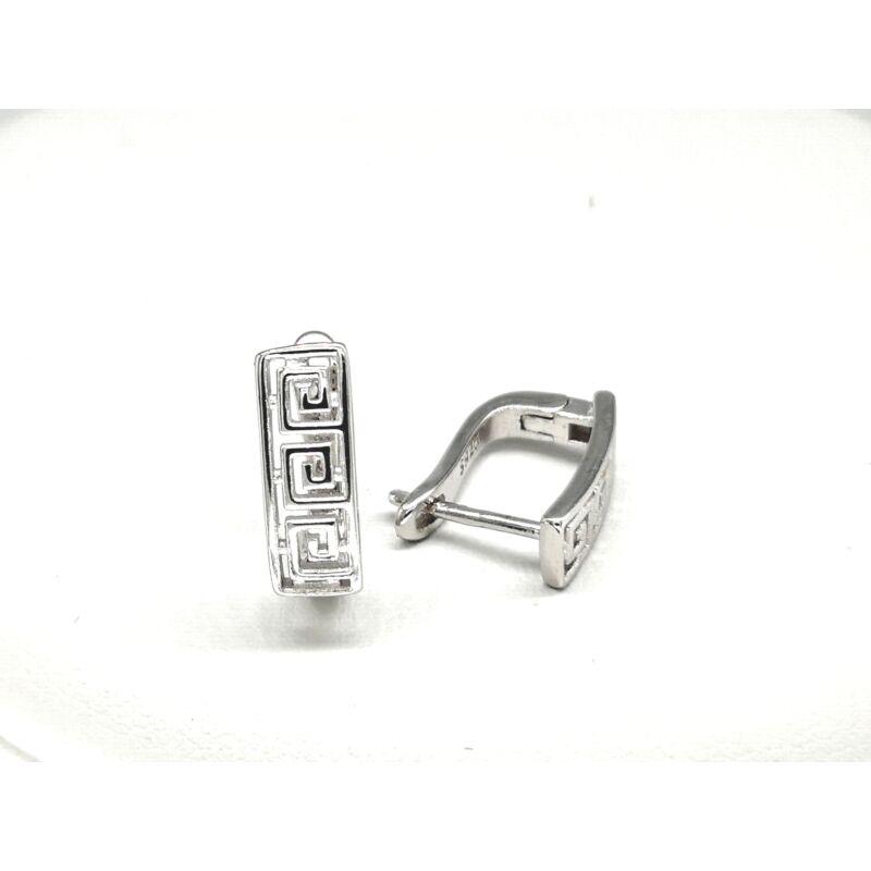 Áttört görög mintás ezüst fülbevaló