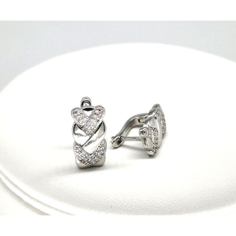 Köves fonott mintás ezüst fülbevaló