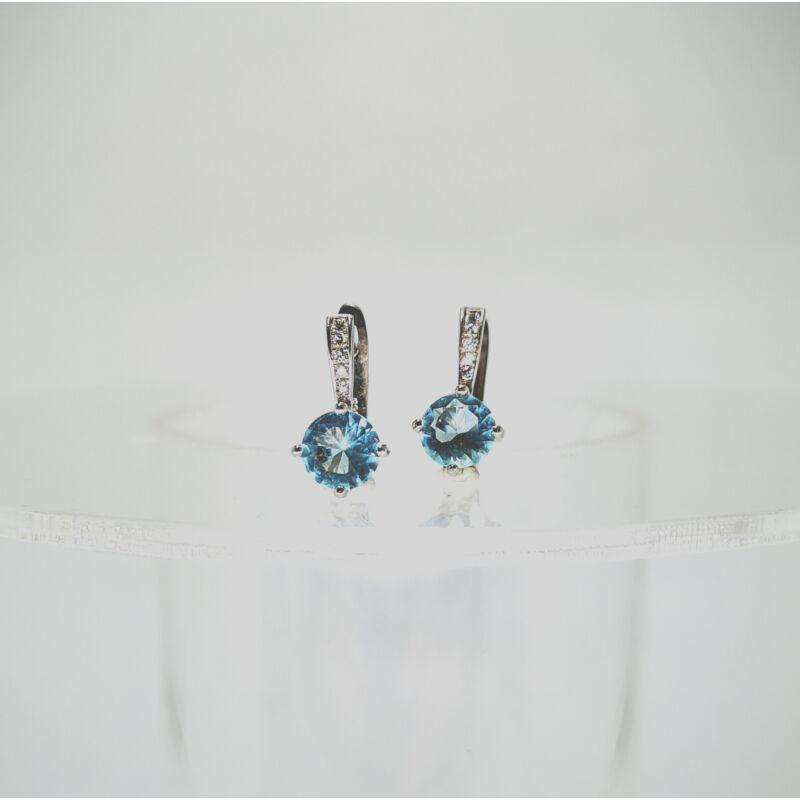 Akvamarin kék ezüst fülbevaló