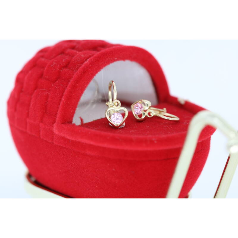 Szív alakú baba fülbevaló, mesés rózsaszín kővel