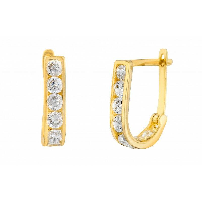 14 Karátos sárga arany egysoros cirkónia köves arany fülbevaló