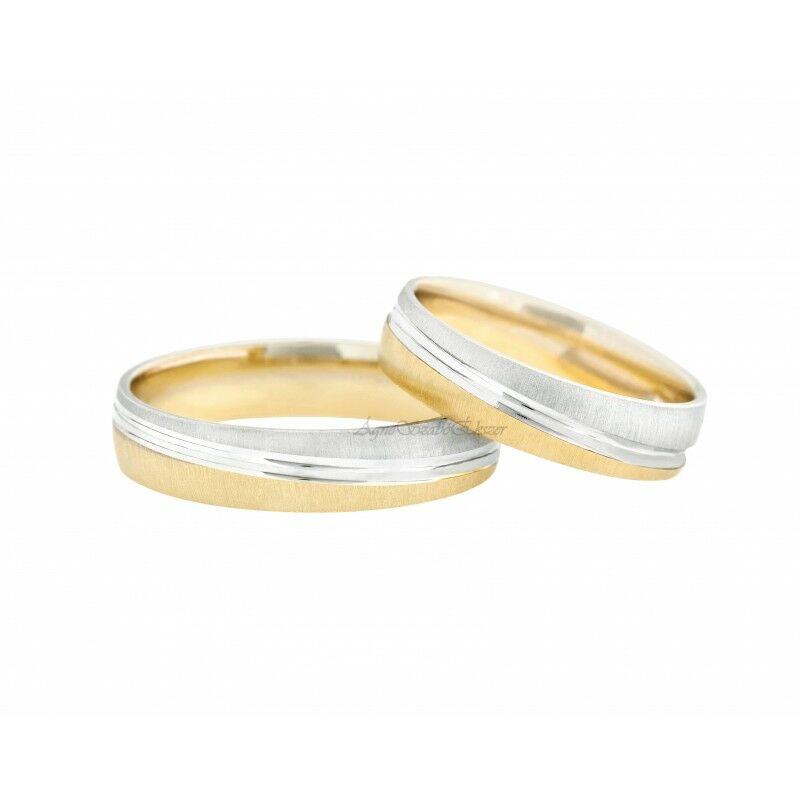 14 Karátos sárga és fehérarany karikagyűrű