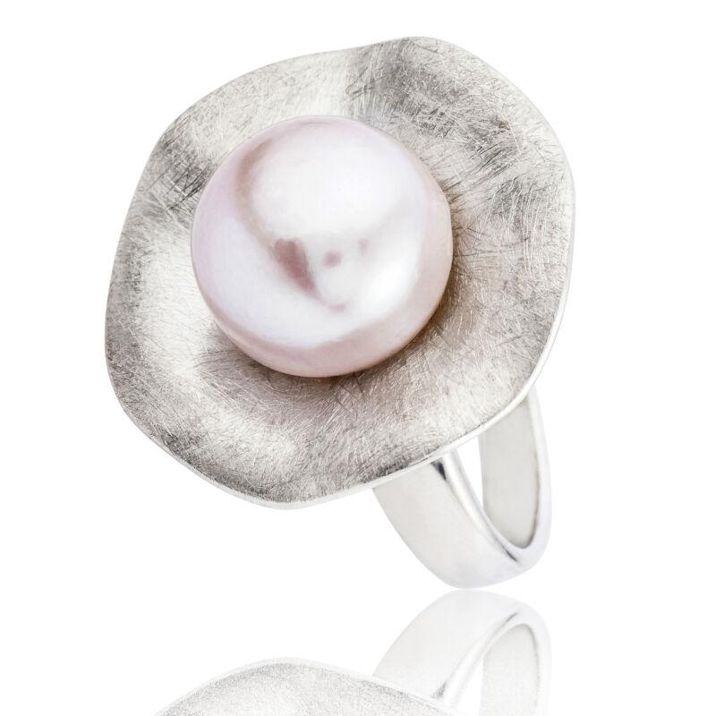 Púderrózsaszín édesvízi tenyésztett gyöngy gyűrű