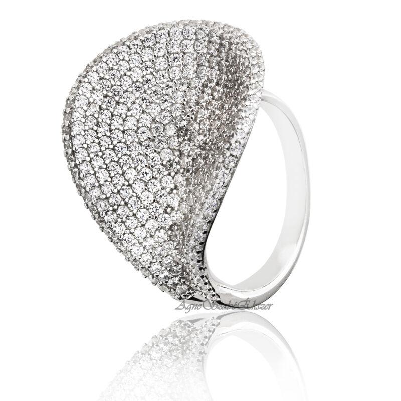 Ródiumozott ezüst gyűrű cirkónia kövekkel