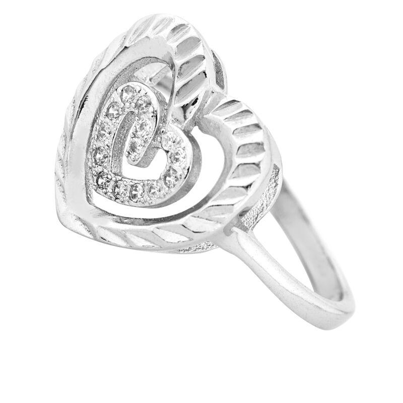 Szíves ródiumozott ezüst gyűrű szeretetre hangolva