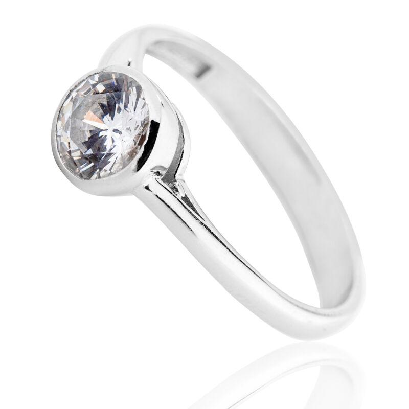 Button foglalatú klasszikus ezüst gyűrű cirkónia kővel